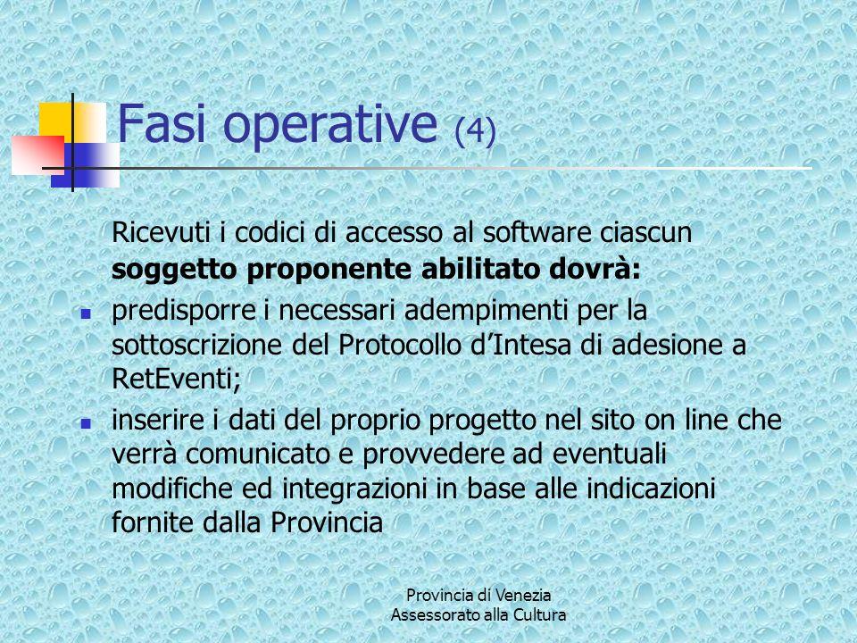Provincia di Venezia Assessorato alla Cultura Fasi operative (4) Ricevuti i codici di accesso al software ciascun soggetto proponente abilitato dovrà: