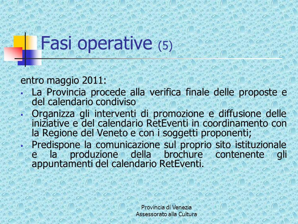 Provincia di Venezia Assessorato alla Cultura Fasi operative (5) entro maggio 2011: La Provincia procede alla verifica finale delle proposte e del cal