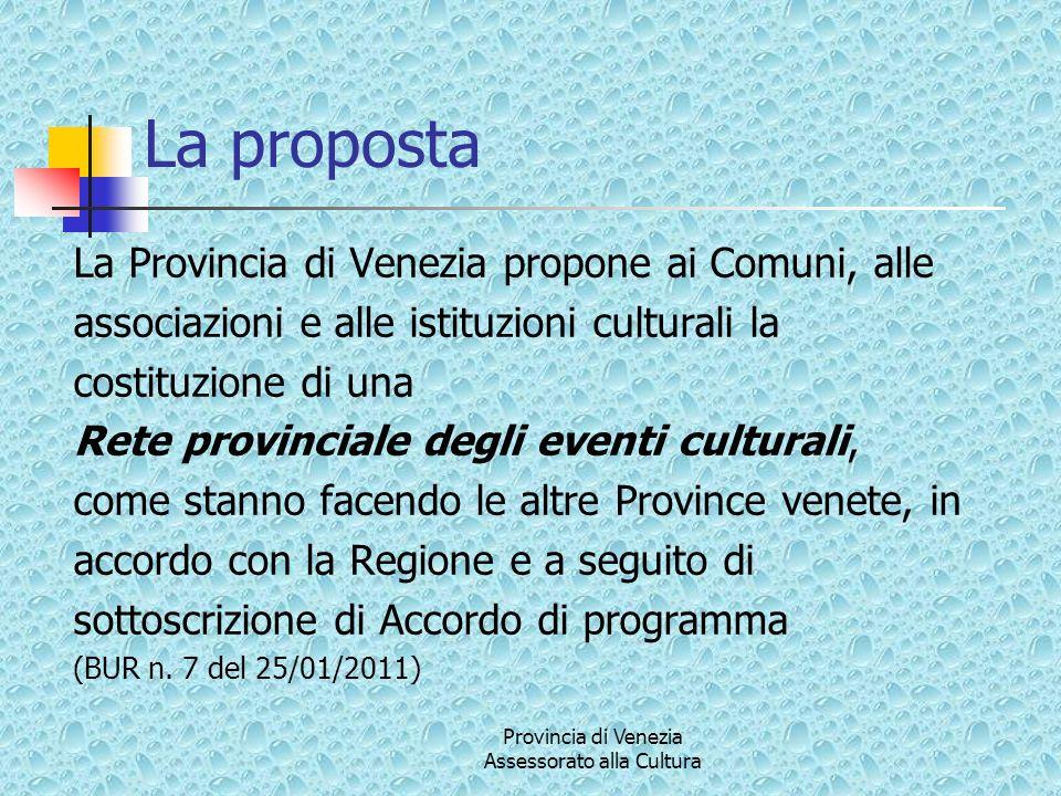 Provincia di Venezia Assessorato alla Cultura La proposta La Provincia di Venezia propone ai Comuni, alle associazioni e alle istituzioni culturali la