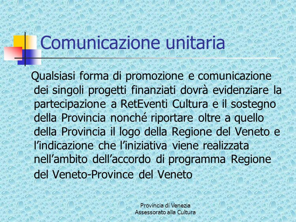 Provincia di Venezia Assessorato alla Cultura Comunicazione unitaria Qualsiasi forma di promozione e comunicazione dei singoli progetti finanziati dov