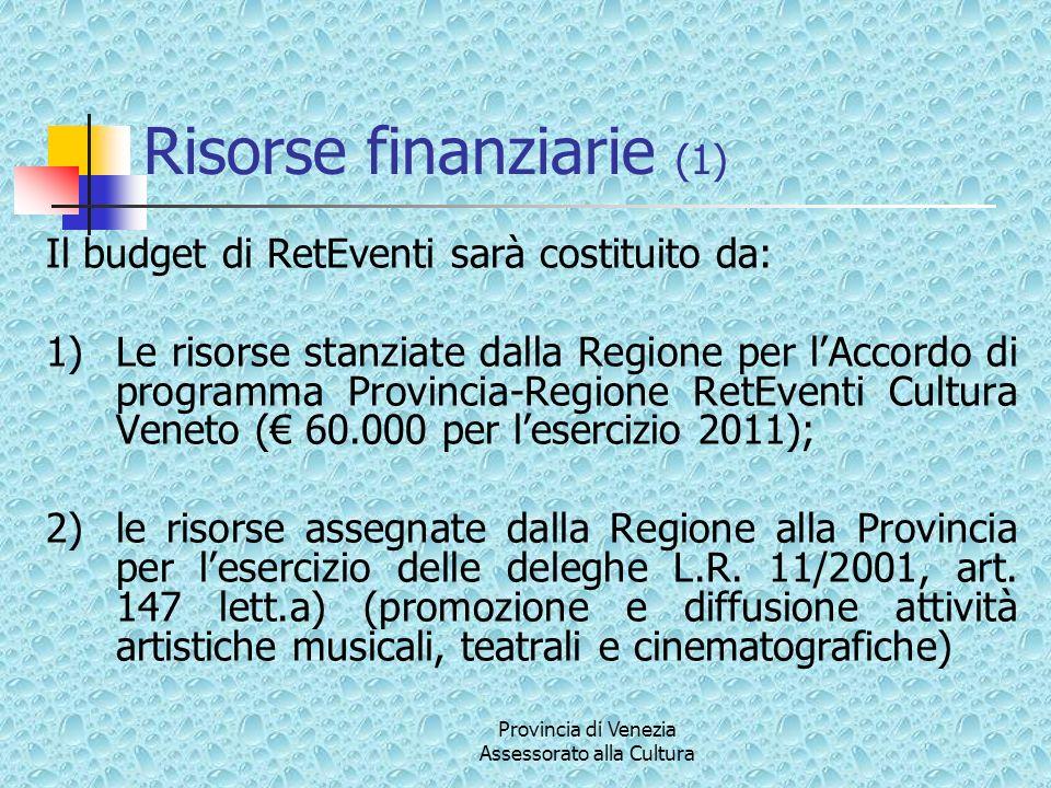 Provincia di Venezia Assessorato alla Cultura Risorse finanziarie (1) Il budget di RetEventi sarà costituito da: 1)Le risorse stanziate dalla Regione
