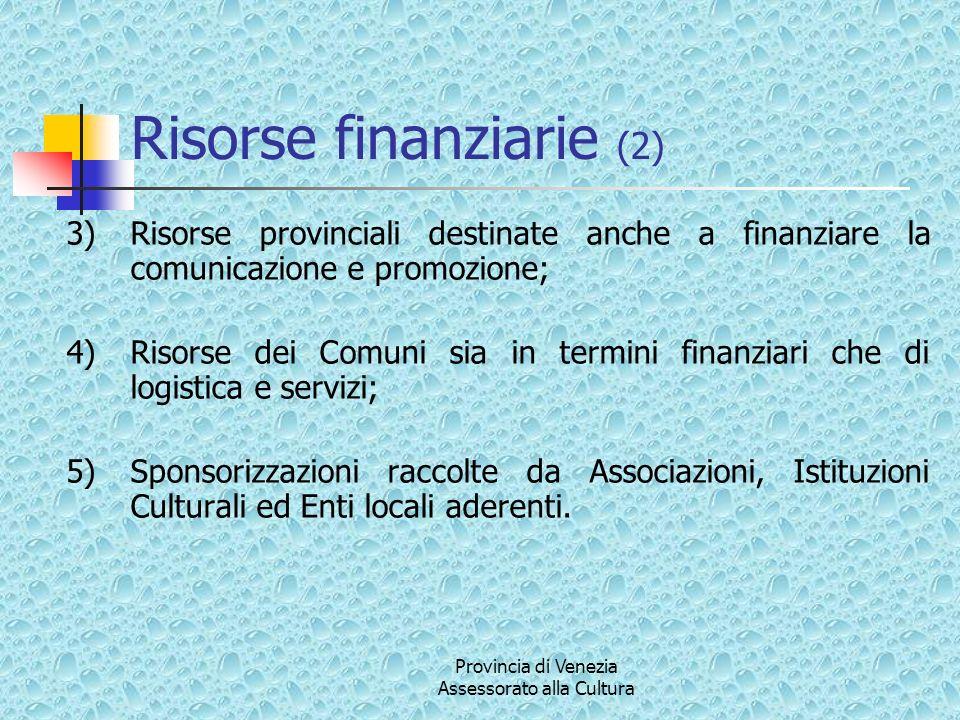 Provincia di Venezia Assessorato alla Cultura Risorse finanziarie (2) 3)Risorse provinciali destinate anche a finanziare la comunicazione e promozione
