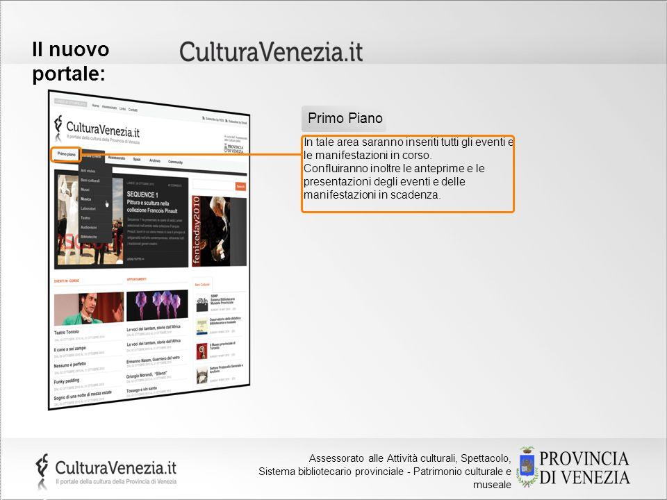 Provincia di Venezia Assessorato alla Cultura Il nuovo portale: In tale area saranno inseriti tutti gli eventi e le manifestazioni in corso. Confluira