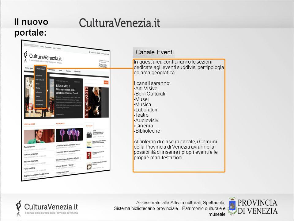 Provincia di Venezia Assessorato alla Cultura Il nuovo portale: In questarea confluiranno le sezioni dedicate agli eventi suddivisi per tipologia ed a