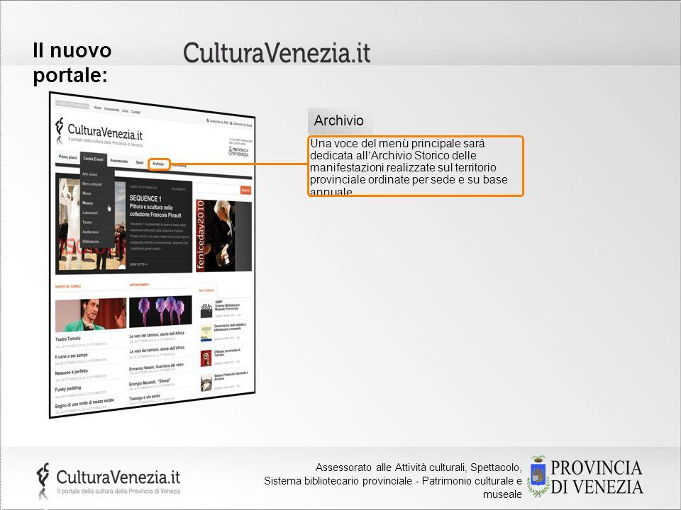 Provincia di Venezia Assessorato alla Cultura Il nuovo portale: Una voce del menù principale sarà dedicata allArchivio Storico delle manifestazioni re
