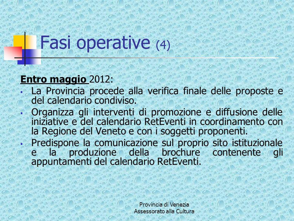 Provincia di Venezia Assessorato alla Cultura Fasi operative (4) Entro maggio 2012: La Provincia procede alla verifica finale delle proposte e del calendario condiviso.