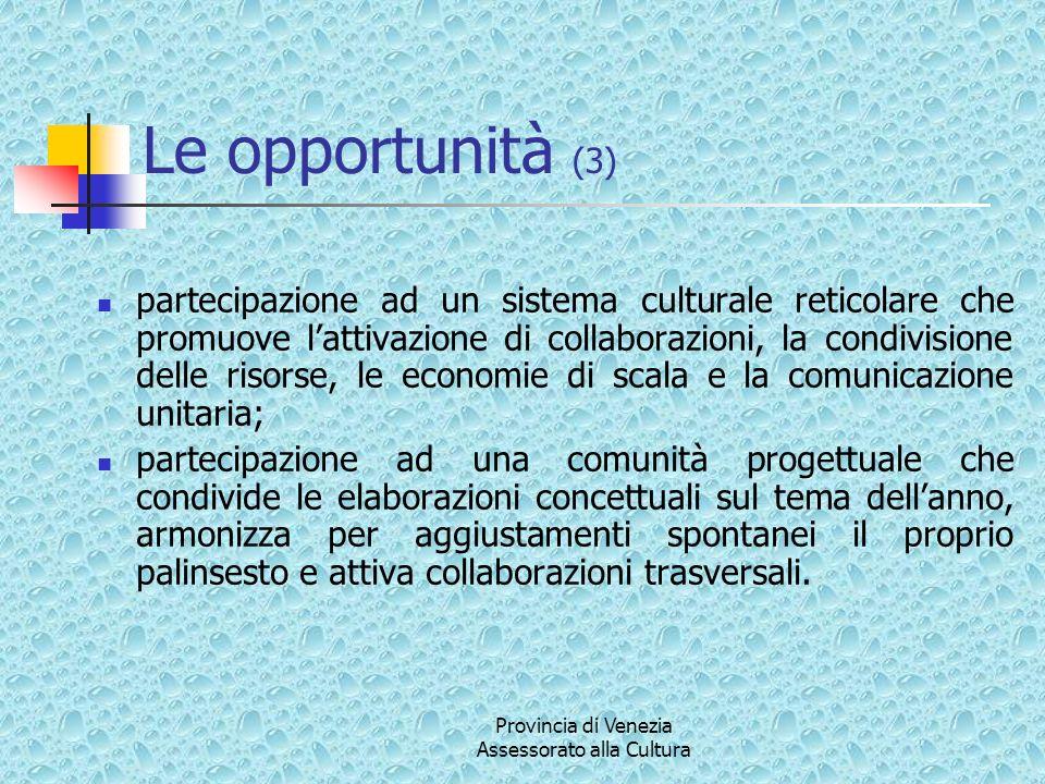 Le opportunità (3) partecipazione ad un sistema culturale reticolare che promuove lattivazione di collaborazioni, la condivisione delle risorse, le economie di scala e la comunicazione unitaria; partecipazione ad una comunità progettuale che condivide le elaborazioni concettuali sul tema dellanno, armonizza per aggiustamenti spontanei il proprio palinsesto e attiva collaborazioni trasversali.