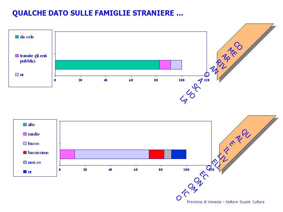Provincia di Venezia – Settore Scuole Cultura QUALCHE DATO SULLE FAMIGLIE STRANIERE … COMEARRIVANOASCUOLA QUALEILLIVELLOECONOMICO