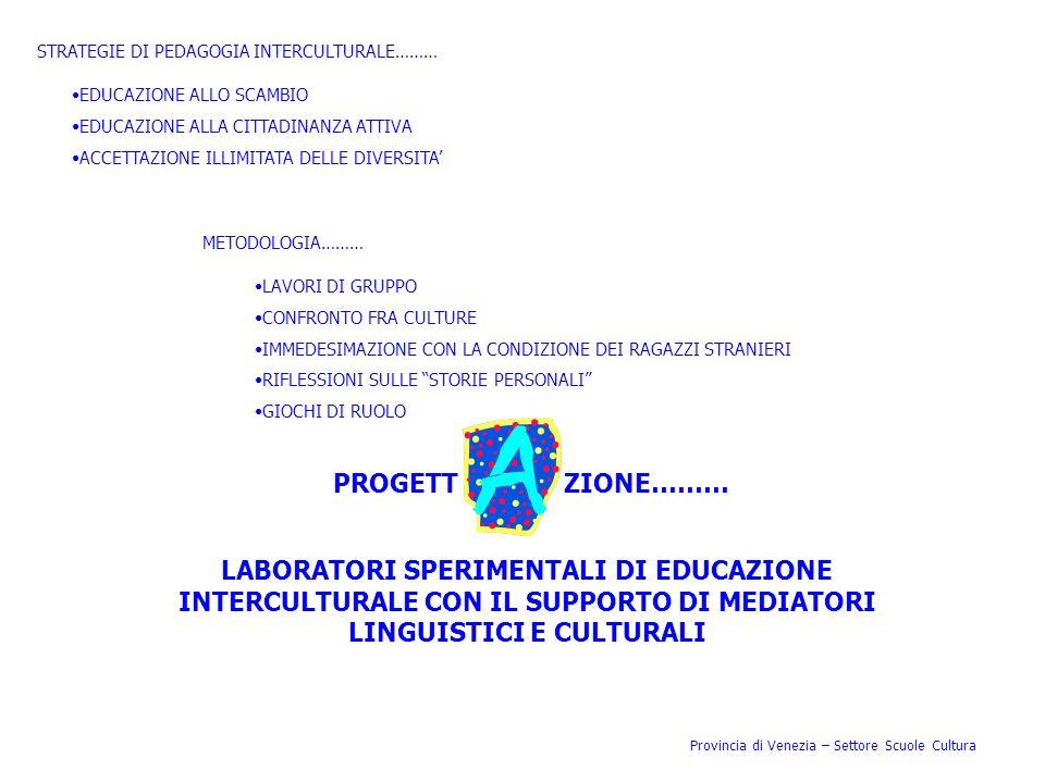 Provincia di Venezia – Settore Scuole Cultura STRATEGIE DI PEDAGOGIA INTERCULTURALE……… EDUCAZIONE ALLO SCAMBIO EDUCAZIONE ALLA CITTADINANZA ATTIVA ACC