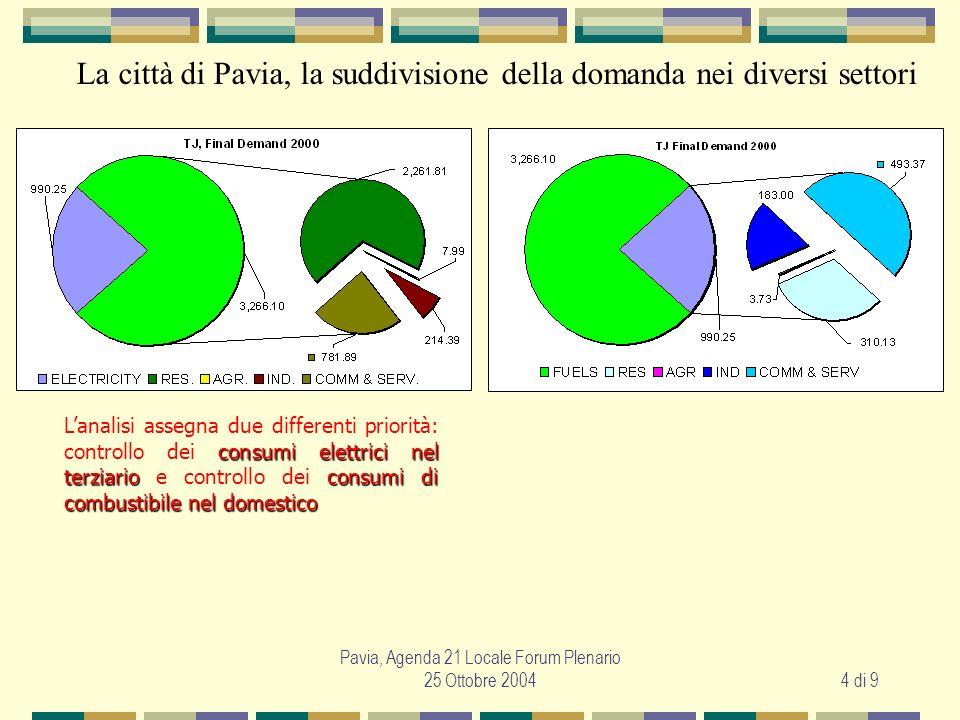 Pavia, Agenda 21 Locale Forum Plenario 25 Ottobre 20044 di 9 consumi elettrici nel terziarioconsumi di combustibile nel domestico Lanalisi assegna due differenti priorità: controllo dei consumi elettrici nel terziario e controllo dei consumi di combustibile nel domestico La città di Pavia, la suddivisione della domanda nei diversi settori