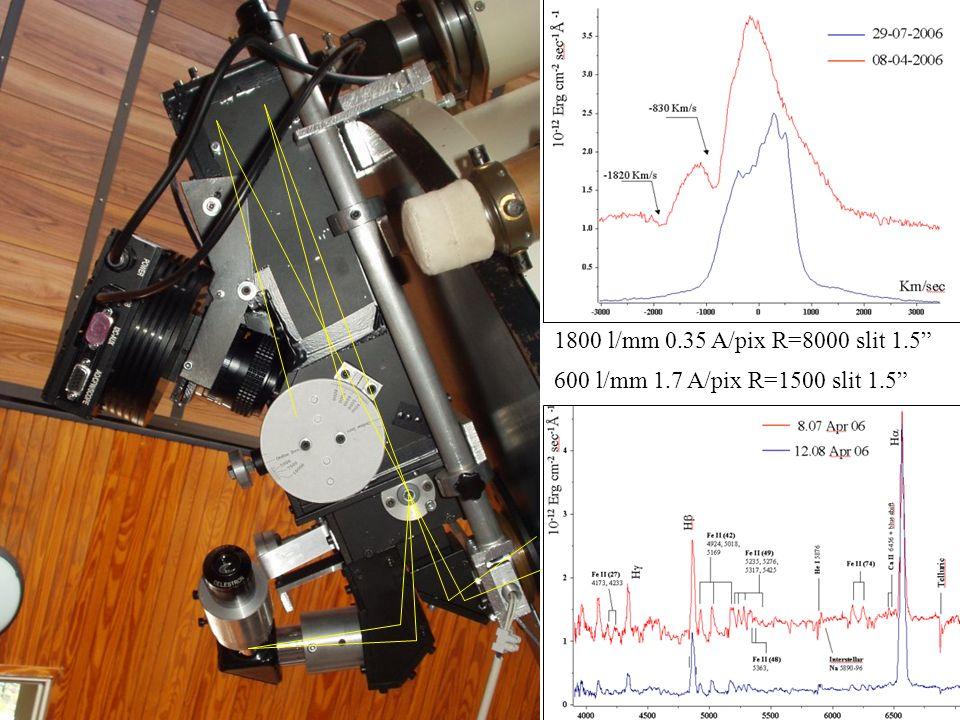 1800 l/mm 0.35 A/pix R=8000 slit 1.5 600 l/mm 1.7 A/pix R=1500 slit 1.5