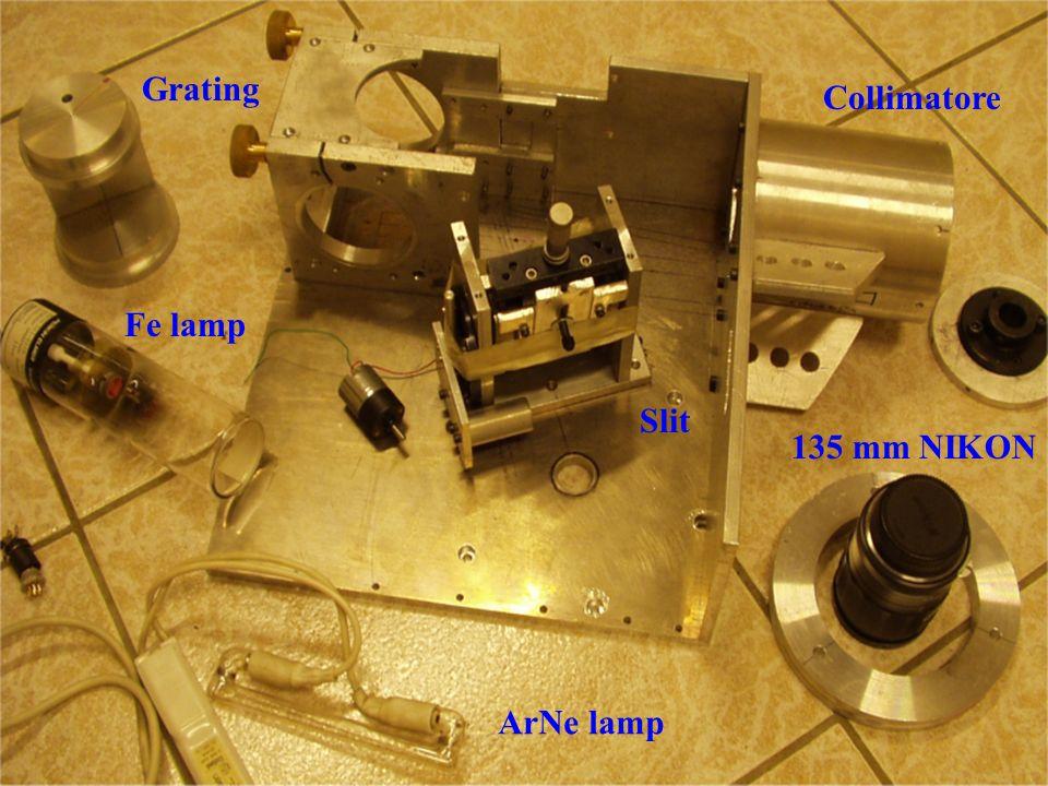 ArNe lamp 135 mm NIKON Slit Collimatore Fe lamp Grating