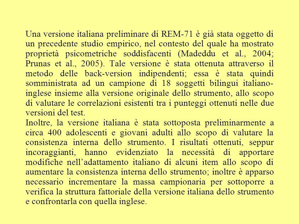 Una versione italiana preliminare di REM-71 è già stata oggetto di un precedente studio empirico, nel contesto del quale ha mostrato proprietà psicome