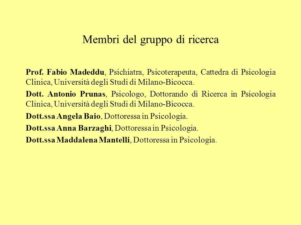 Membri del gruppo di ricerca Prof. Fabio Madeddu, Psichiatra, Psicoterapeuta, Cattedra di Psicologia Clinica, Università degli Studi di Milano-Bicocca