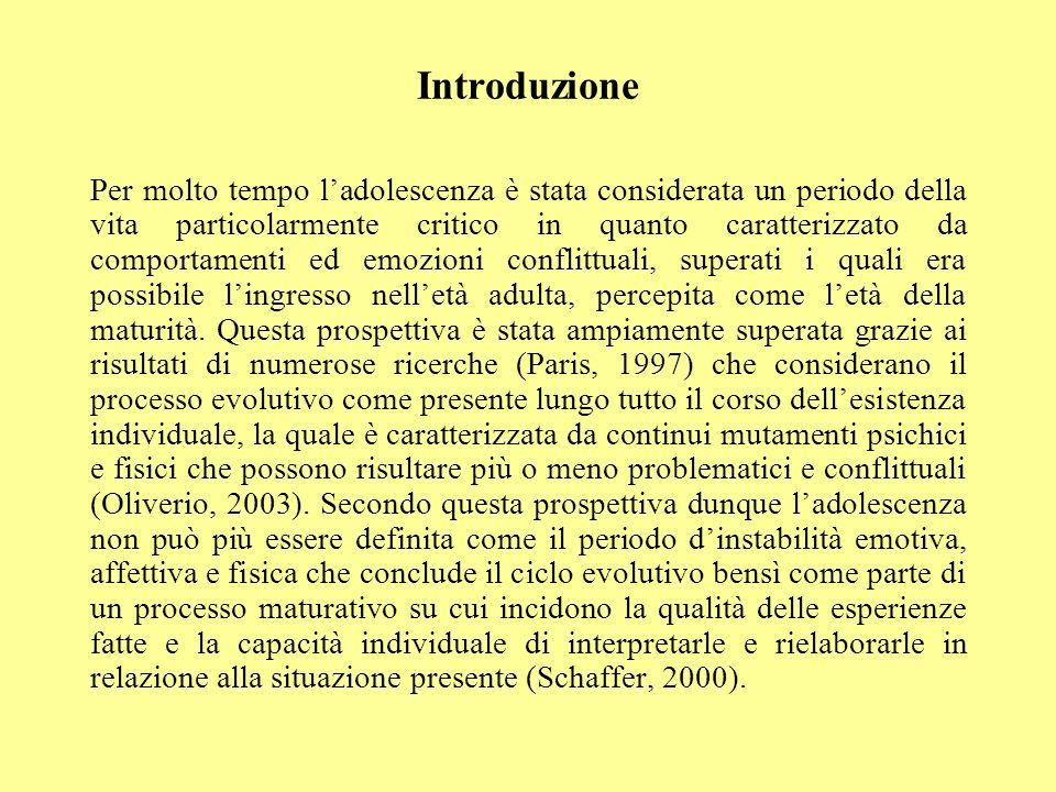 Introduzione Per molto tempo ladolescenza è stata considerata un periodo della vita particolarmente critico in quanto caratterizzato da comportamenti