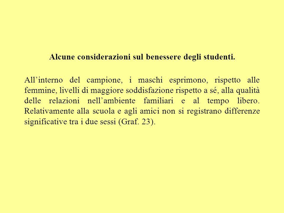 Alcune considerazioni sul benessere degli studenti. Allinterno del campione, i maschi esprimono, rispetto alle femmine, livelli di maggiore soddisfazi