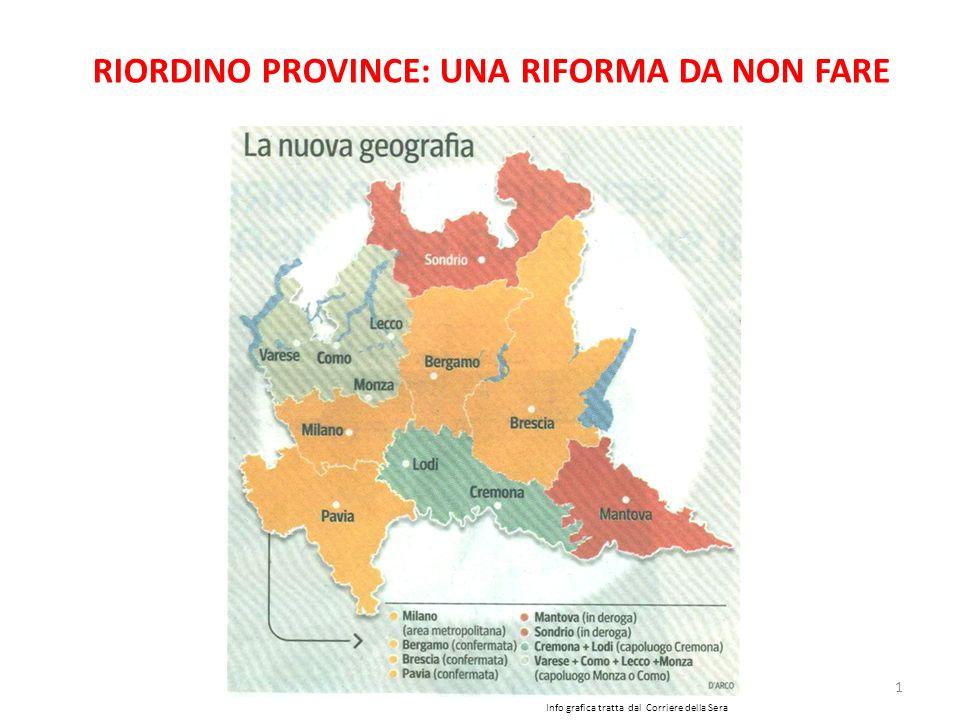 1 RIORDINO PROVINCE: UNA RIFORMA DA NON FARE Info grafica tratta dal Corriere della Sera