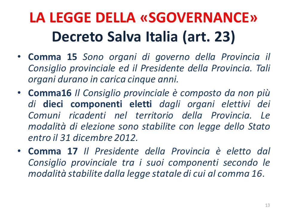 LA LEGGE DELLA «SGOVERNANCE» Decreto Salva Italia (art. 23) Comma 15 Sono organi di governo della Provincia il Consiglio provinciale ed il Presidente