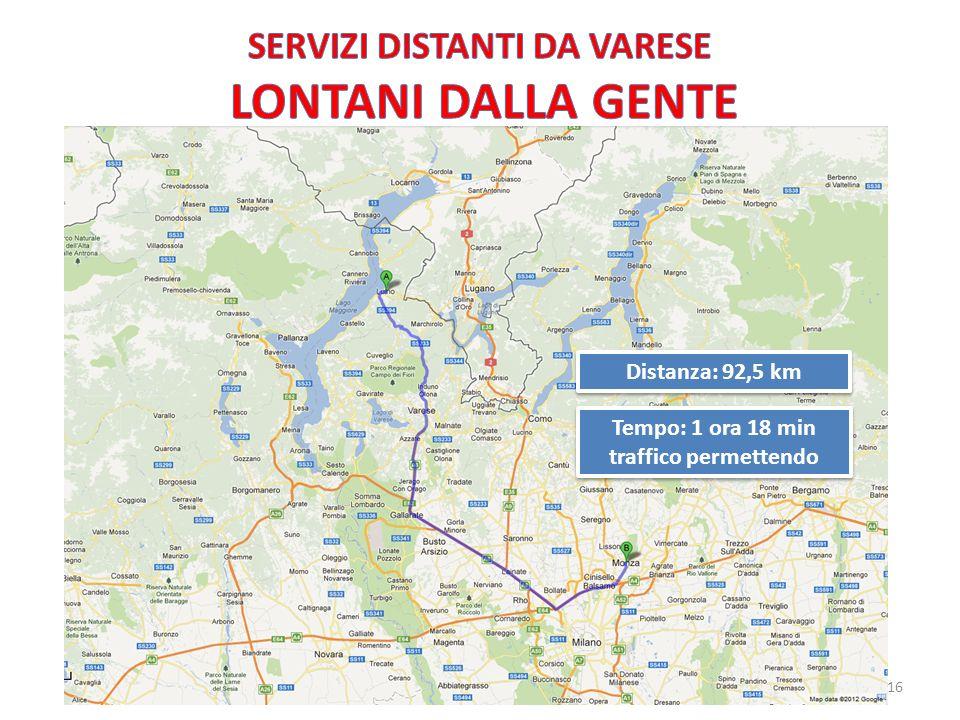 Distanza: 92,5 km Tempo: 1 ora 18 min traffico permettendo Tempo: 1 ora 18 min traffico permettendo 16