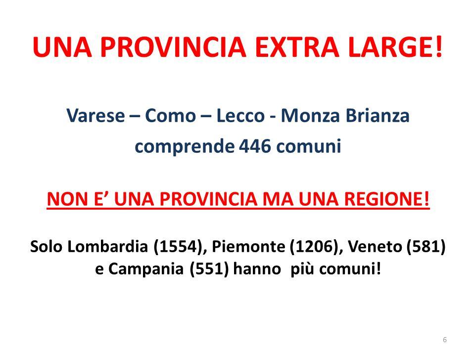 UNA PROVINCIA EXTRA LARGE! Varese – Como – Lecco - Monza Brianza comprende 446 comuni NON E UNA PROVINCIA MA UNA REGIONE! Solo Lombardia (1554), Piemo
