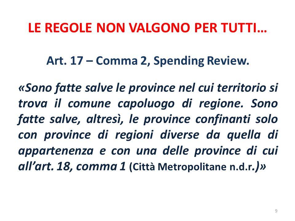 LE REGOLE NON VALGONO PER TUTTI… Art. 17 – Comma 2, Spending Review. «Sono fatte salve le province nel cui territorio si trova il comune capoluogo di