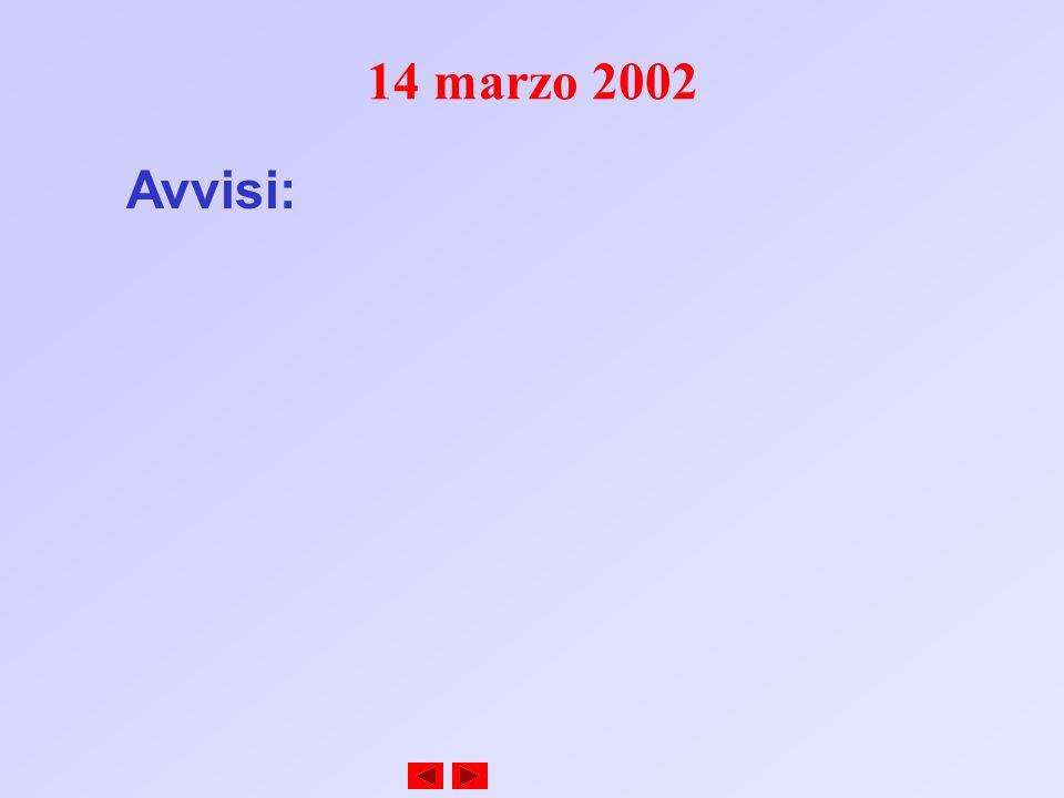 14 marzo 2002 Avvisi: