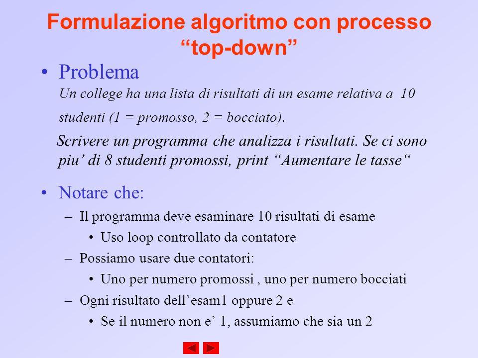 Formulazione algoritmo con processo top-down Problema Un college ha una lista di risultati di un esame relativa a 10 studenti (1 = promosso, 2 = bocci