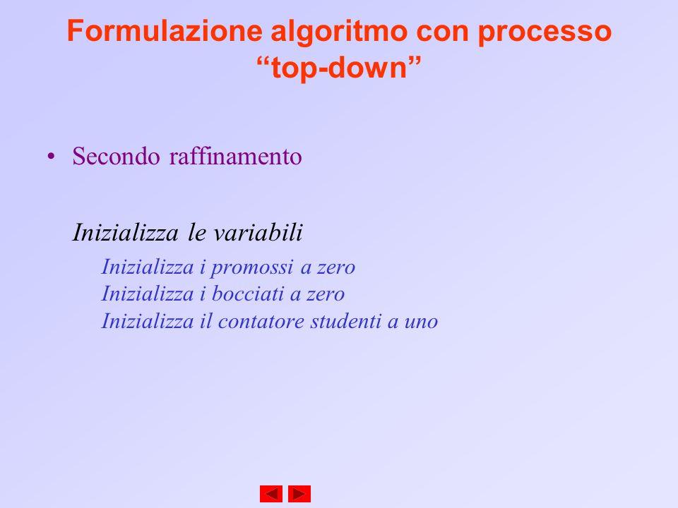 Formulazione algoritmo con processo top-down Secondo raffinamento Inizializza le variabili Inizializza i promossi a zero Inizializza i bocciati a zero