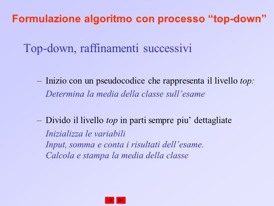 Formulazione algoritmo con processo top-down Molti programmi possono dividersi in tre fasi: –Inizializzazione: inizializza le variabili del programma –Elaborazione: prende in input i dati e imposta le variabili del programma di conseguenza.