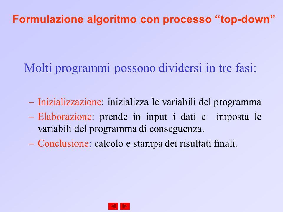 Formulazione algoritmo con processo top-down Molti programmi possono dividersi in tre fasi: –Inizializzazione: inizializza le variabili del programma