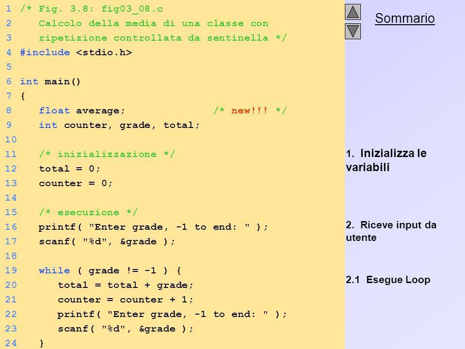 . Sommario 1. Inizializza le variabili 2. Riceve input da utente 2.1 Esegue Loop 1/* Fig. 3.8: fig03_08.c 2 Calcolo della media di una classe con 3 ri