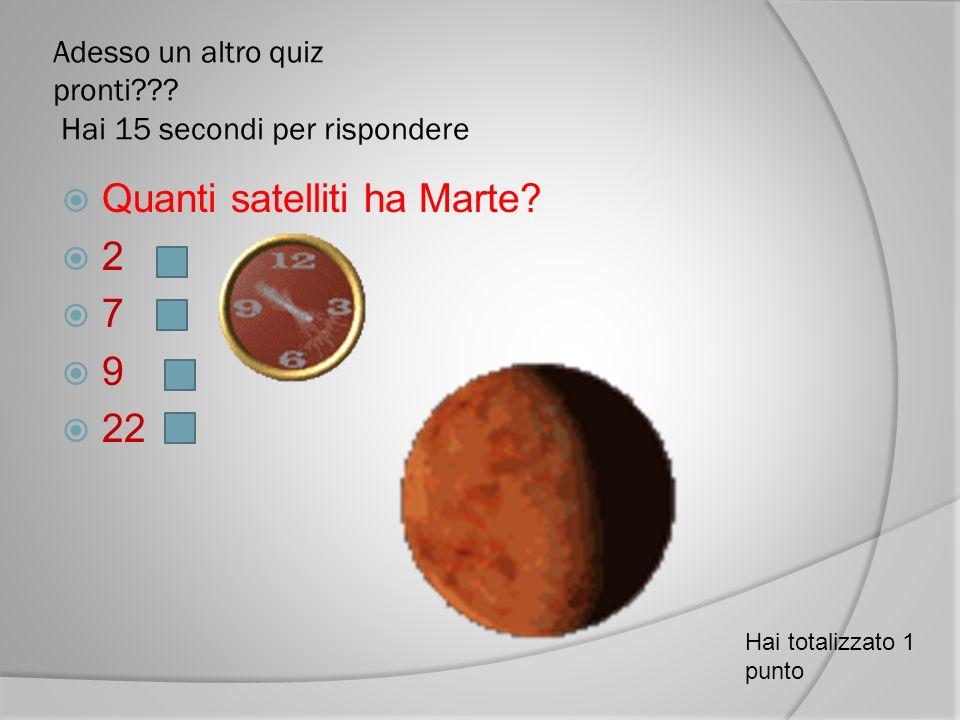 Adesso un altro quiz pronti??? Hai 15 secondi per rispondere Quanti satelliti ha Marte? 2 7 9 22 Hai totalizzato 1 punto
