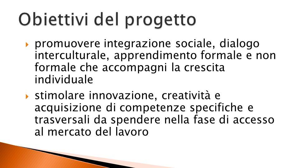 promuovere integrazione sociale, dialogo interculturale, apprendimento formale e non formale che accompagni la crescita individuale stimolare innovazione, creatività e acquisizione di competenze specifiche e trasversali da spendere nella fase di accesso al mercato del lavoro