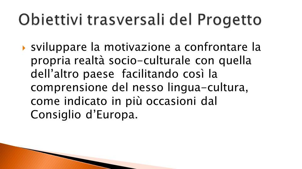 sviluppare la motivazione a confrontare la propria realtà socio-culturale con quella dellaltro paese facilitando così la comprensione del nesso lingua-cultura, come indicato in più occasioni dal Consiglio dEuropa.