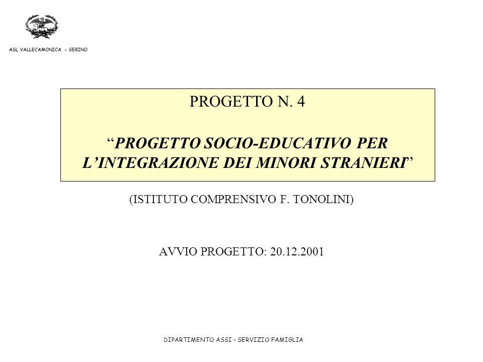 DIPARTIMENTO ASSI – SERVIZIO FAMIGLIA ASL VALLECAMONICA - SEBINO PROGETTO N. 4PROGETTO SOCIO-EDUCATIVO PER LINTEGRAZIONE DEI MINORI STRANIERI (ISTITUT