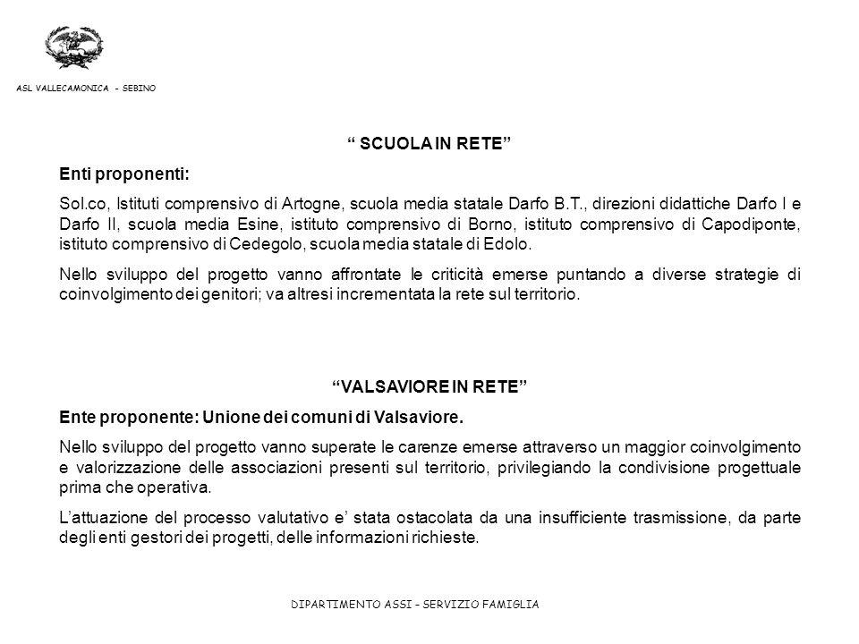 DIPARTIMENTO ASSI – SERVIZIO FAMIGLIA ASL VALLECAMONICA - SEBINO SCUOLA IN RETE Enti proponenti: Sol.co, Istituti comprensivo di Artogne, scuola media
