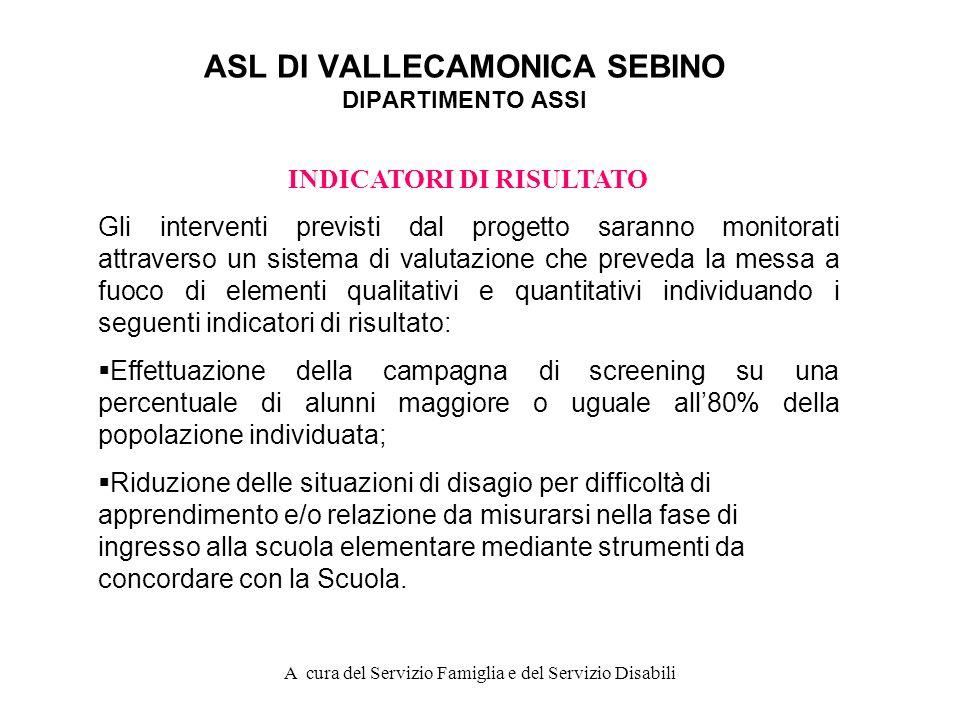 A cura del Servizio Famiglia e del Servizio Disabili ASL DI VALLECAMONICA SEBINO DIPARTIMENTO ASSI FASE C Lattività di prevenzione primaria prevista n