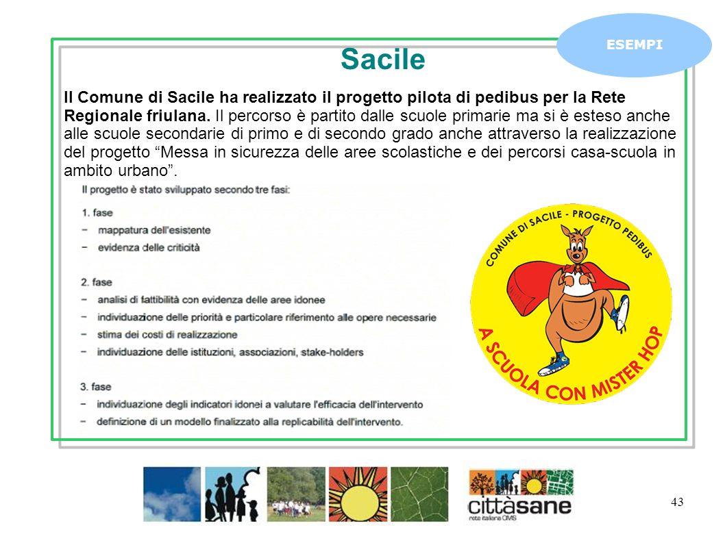 43 ESEMPI Il Comune di Sacile ha realizzato il progetto pilota di pedibus per la Rete Regionale friulana.