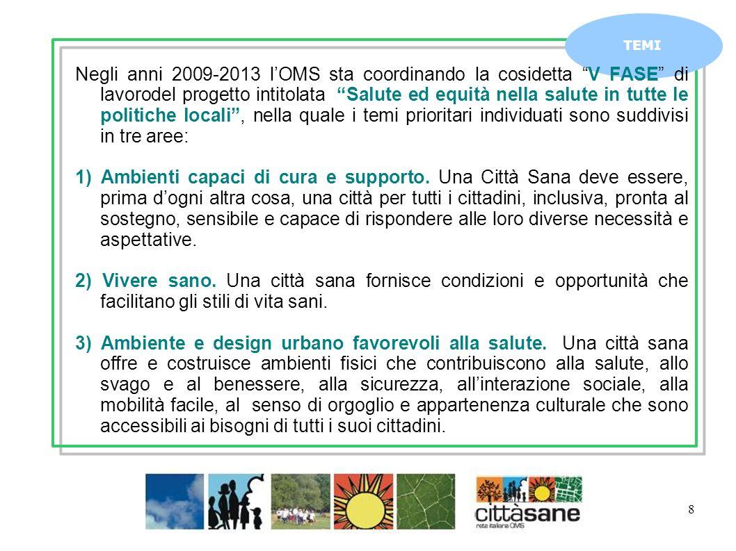 8 TEMI Negli anni 2009-2013 lOMS sta coordinando la cosidetta V FASE di lavorodel progetto intitolata Salute ed equità nella salute in tutte le politiche locali, nella quale i temi prioritari individuati sono suddivisi in tre aree: 1) Ambienti capaci di cura e supporto.