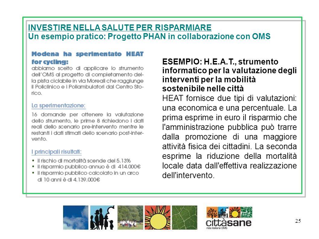 25 ESEMPIO: H.E.A.T., strumento informatico per la valutazione degli interventi per la mobilità sostenibile nelle città HEAT fornisce due tipi di valutazioni: una economica e una percentuale.