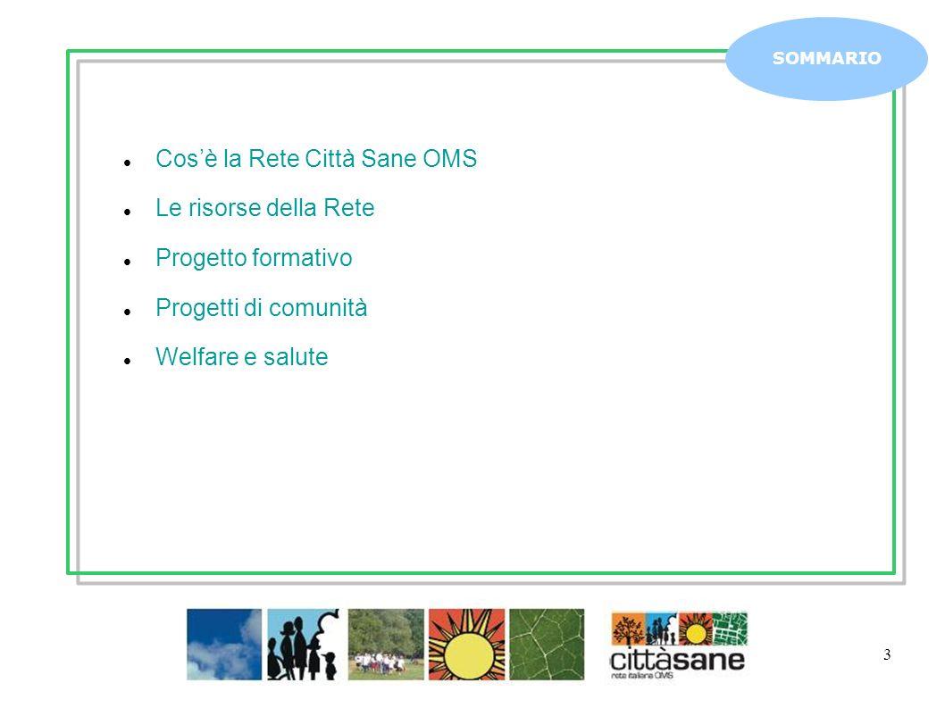 3 Cosè la Rete Città Sane OMS Le risorse della Rete Progetto formativo Progetti di comunità Welfare e salute SOMMARIO