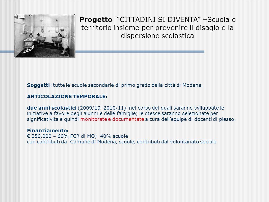 Soggetti: tutte le scuole secondarie di primo grado della città di Modena.
