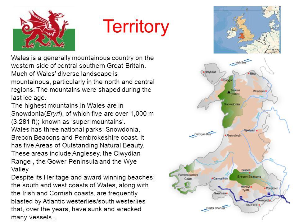 Territory Il galles è un territorio prevalentemente montagnoso, nella parte ad ovest adella Gran Bretagna.