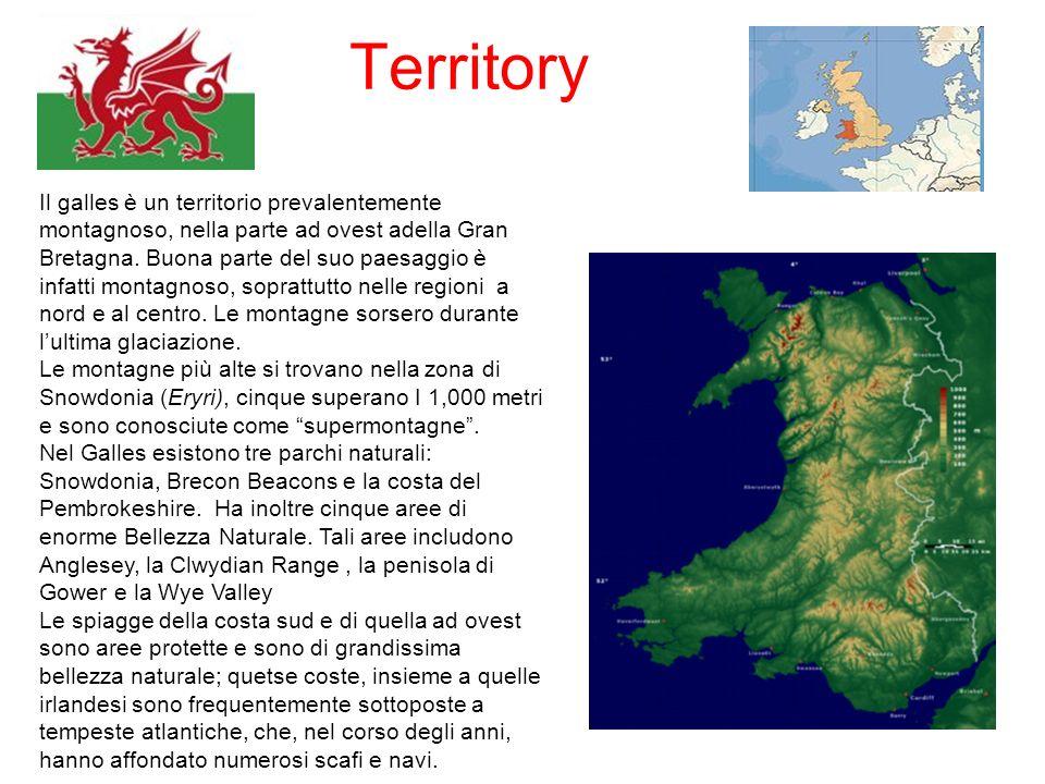 Territory Il galles è un territorio prevalentemente montagnoso, nella parte ad ovest adella Gran Bretagna. Buona parte del suo paesaggio è infatti mon