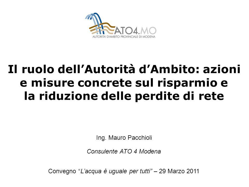 Il ruolo dellAutorità dAmbito: azioni e misure concrete sul risparmio e la riduzione delle perdite di rete Convegno Lacqua è uguale per tutti – 29 Marzo 2011 Ing.