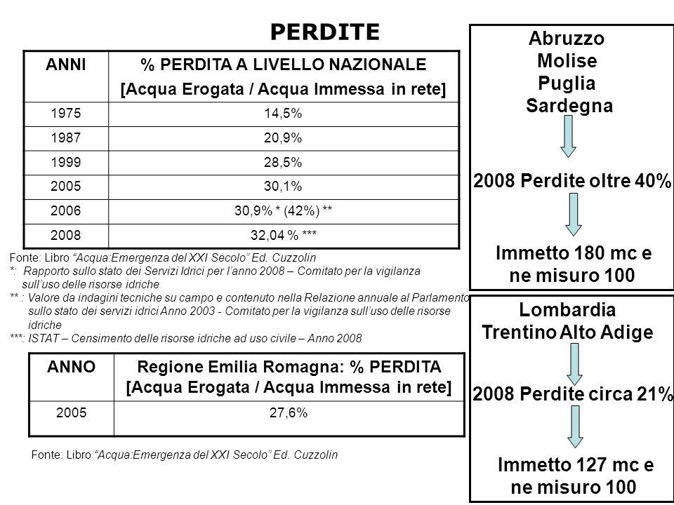 ANNI% PERDITA A LIVELLO NAZIONALE [Acqua Erogata / Acqua Immessa in rete] 197514,5% 198720,9% 199928,5% 200530,1% 200630,9% * (42%) ** 200832,04 % *** Fonte: Libro Acqua:Emergenza del XXI Secolo Ed.