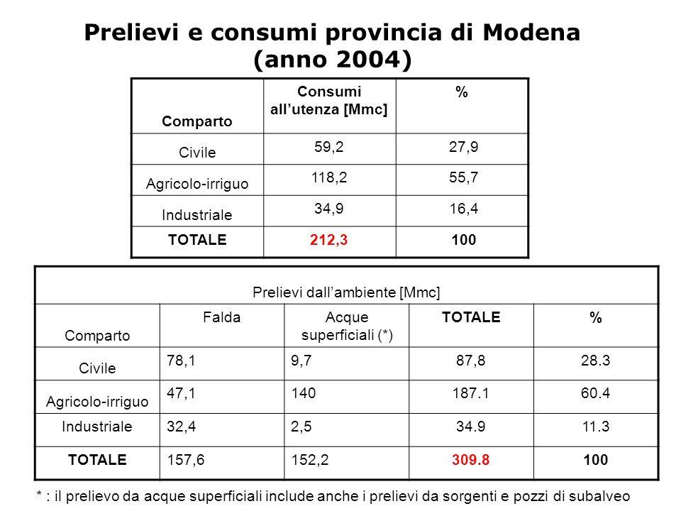 Prelievi e consumi provincia di Modena (anno 2004) Comparto Consumi allutenza [Mmc] % Civile 59,2 27,9 Agricolo-irriguo 118,2 55,7 Industriale 34,9 16,4 TOTALE212,3 100 Prelievi dallambiente [Mmc] Comparto FaldaAcque superficiali (*) TOTALE% Civile 78,19,787,828.3 Agricolo-irriguo 47,1140187.160.4 Industriale32,42,534.911.3 TOTALE157,6152,2309.8100 * : il prelievo da acque superficiali include anche i prelievi da sorgenti e pozzi di subalveo