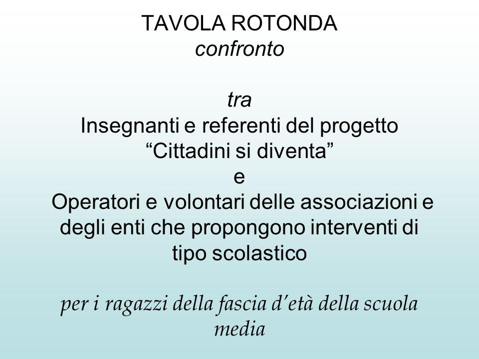 TAVOLA ROTONDA confronto tra Insegnanti e referenti del progetto Cittadini si diventa e Operatori e volontari delle associazioni e degli enti che prop