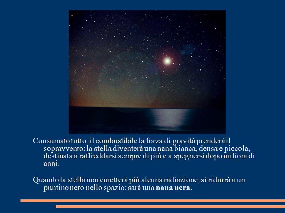 Consumato tutto il combustibile la forza di gravità prenderà il sopravvento: la stella diventerà una nana bianca, densa e piccola, destinata a raffred