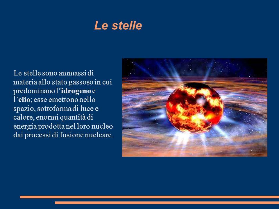 Le stelle Le stelle sono ammassi di materia allo stato gassoso in cui predominano lidrogeno e lelio; esse emettono nello spazio, sottoforma di luce e